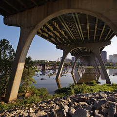 (Ansel Olson) Tags: bridge water skyline virginia nikon rocks downtown stitch richmond va jamesriver tiltshift route60 richmondcity d700 pcenikkor24mmf35ded
