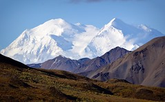 Denali Sunshine - Mountain - Alaska (blmiers2) Tags: travel blue autumn white mountain mountains green fall nature alaska landscape photography nikon snowcapped explore denali mtmckinley denalinationalpark 2011 d3100 blm18 blmiers2