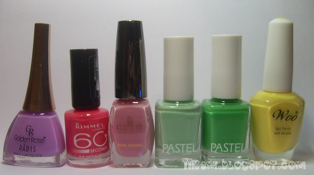 Soldan sağa ; Golden Rose 221 , Rimmel London İnstyle Coral , Color Me , Pastel 83 - 307 , Woo 589