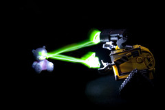Evil Wall-e (Simon Didmon) Tags: bear light green dark toy starwars nikon teddy side evil disney pixar laser vr automaton walle 18105mm d3000