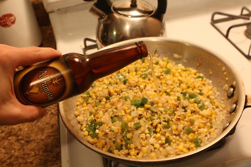 Making Lobster Ale Risotto with Grilled Corn