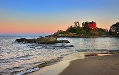 """McCarty's Cove""  Marquette Harbor Lighthouse - Marquette , Michigan (Michigan Nut) Tags: sunset sky coastguard usa lighthouse reflection beach nature rock america landscape outdoors photography sand waves michigan landmark upperpeninsula lakesuperior marquette johnmccormick"
