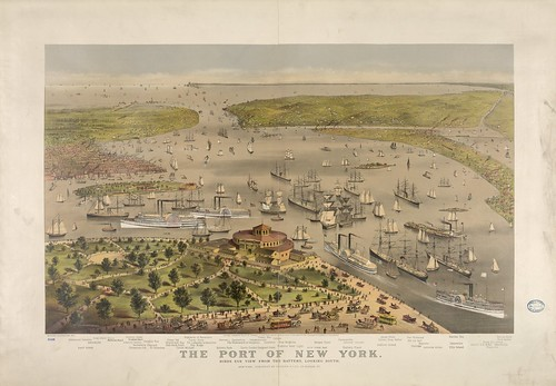 Port of New York - birds eye view from the battery looking South