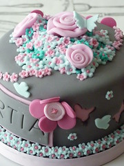 Fabric Flowers Cake (Strawberry Lane Cake Company) Tags: pink roses food london cake cupcakes baking buttons surrey desserts fondant carshalton sugarpaste fabricroses layercakes bespokecakes strawberrylanecakecompany