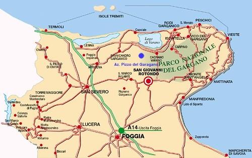 Mapa a San Giovanni Rotondo