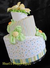 Whimsical style 3-Tier Diaper Cake (Sharikay's Kreations (Formerly Shari's Diaper Cake) Tags: flowers baby cake diaper gift centerpiece babyshower whimsical topsyturvy babygift diapercake