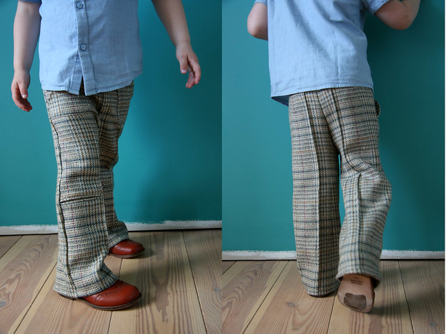 Recycle project: from jacket to pants.