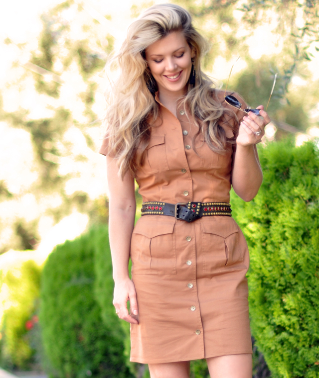 military inspired dress with vintage studded belt