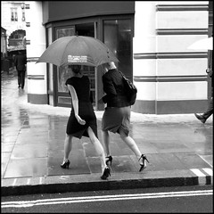 the dash for cash 16 (charlie colmer) Tags: blackandwhite london wet rain umbrella walking shoes legs pavement streetlife westend jermynstreet twowomen venustreet charliecolmer