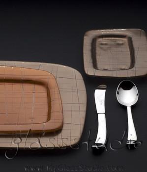 brown dinnerware