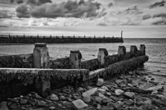 Sea Defences II MonoB (K_D_B 2 Million views. Thanks) Tags: wood blackandwhite bw beach wales canon mono pier wooden rocks harbour groyne ceredigion defence 30d aberaeron kdb cardiganshire sigma1770f28dcosmacro