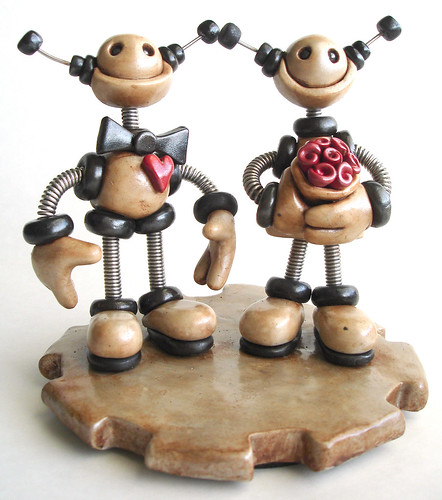 Robot Wedding Cake Topper | Custom  Silver & Black with a touch of Grungy  by HerArtSheLoves