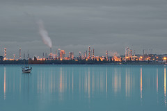 Blue/Gray Night (-jon) Tags: longexposure blue sunset reflection night sailboat grey industrial sundown towers gray steam pugetsound sanjuanislands anacortes washingtonstate refinery afterdark stacks skagitcounty salishsea fidalgoisland marchpoint fidalgobay a266122photographyproduction