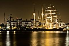 Hafen (Michael-Herrmann) Tags: sea water night lights harbor boat ship north jade sail wilhelmshaven jadebusen