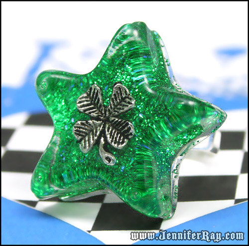 Lucky Clover Ring - Green 4 Leaf Clover Star Silver Ring by JenniferRay.com