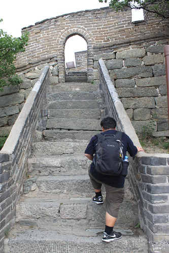 Stairways leading to the top of Mutianyu Great Wall Beijing China after cable ride