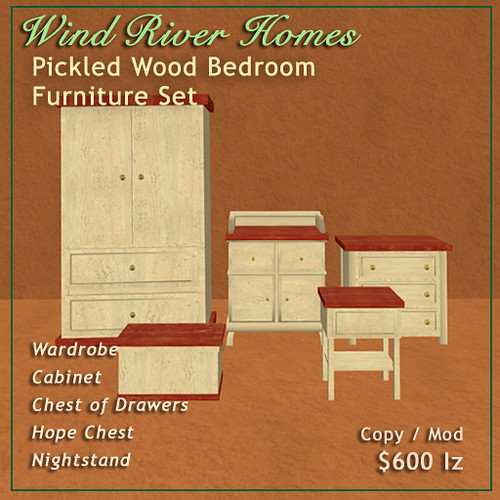 Pickled Wood Bedroom Furniture Set