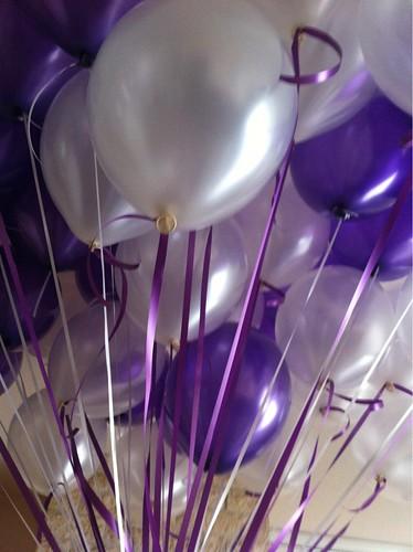 Heliumballonnen Paars en Wit Metallic