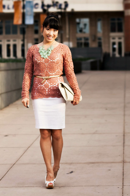forever 21 crochet top, the limited seamless cami, papaya white pencil skirt, ann taylor perfect metallic gold skinny belt, steve madden tumbled white slingbacks, aldo iezzi woven clutch
