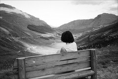 bench with a view (gorbot.) Tags: blackandwhite bw mountains scotland glencoe viewpoint roberta restandbethankful f19 arrocharalps a83 leicam8 digitalrangefinder ltmmount 130811 silverefex voigtlander28mmultronf19