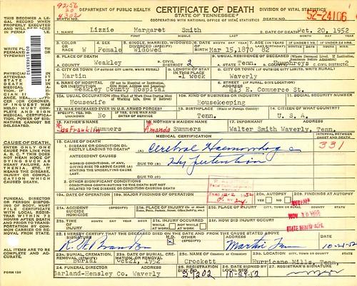 "Margaret Elizabeth ""Lizzie"" Summers Death Certificate"