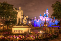 Disneyland Partners (cstout21) Tags: california ca travel flowers chris vacation usa cute statue night clouds happy us colorful unitedstates disneyland disney historic mickeymouse anaheim walt legend westcoast lightposts hdr highdynamicrange sleepingbeauty stout partners waltdisney partnersstatue sleepingbeautycastle disneylandresort ngoc canon60d stoutandstout northamera