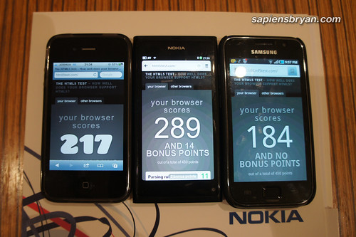 HTML5 Test, Apple iPhone 4, Nokia N9, Samsung Galaxy S