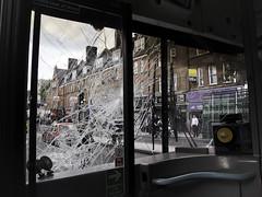 Broken Britain (Sven Loach) Tags: street england bus london broken window public canon buildings mare britain photojournalism august east hackney shattered riots reportage g12 disturbances 2011
