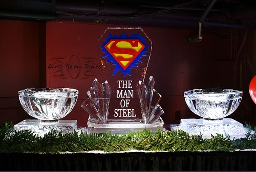 Superman Food Display ice sculpture