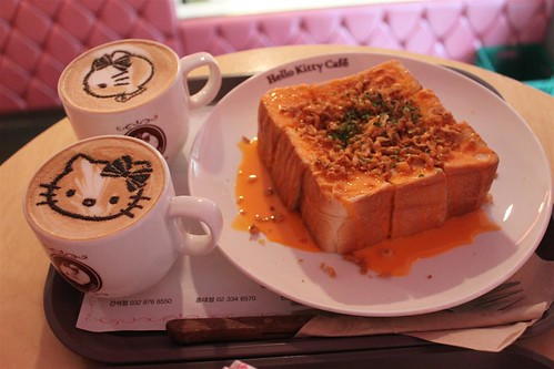 Hello Kitty Cafe coffee and toast bread in Seoul South Korea