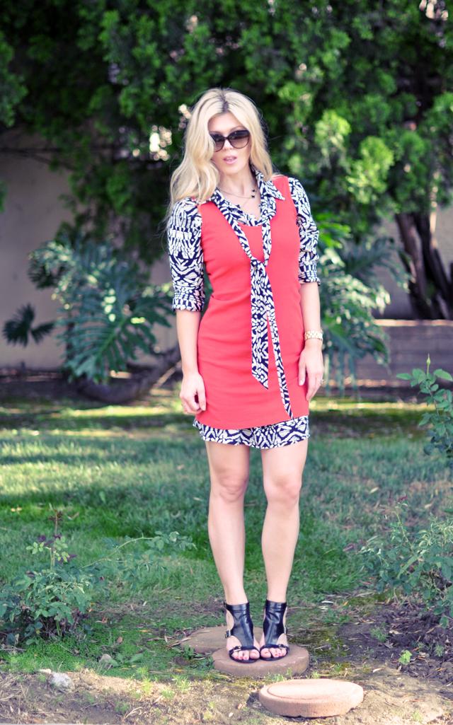 layered dresses + shirtdress and tank dress+ muscular legs+heels+wavy blonde hair