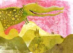 Croc's summer holiday (maralina!) Tags: red summer italy holiday green art collage illustration season print landscape rouge vacances monoprint italia estate drawing mixedmedia hill alligator vert jeunesse crocodile hillside t paysage childrensbook rosso italie paesaggio monotype colline collina coccodrillo oilpaint kinderbuch verdo srmede livredenfant libroperragazzi monotipa