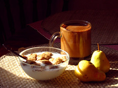 breakfast (invisible_helicopter) Tags: morning food coffee fruit breakfast milk pear cereals