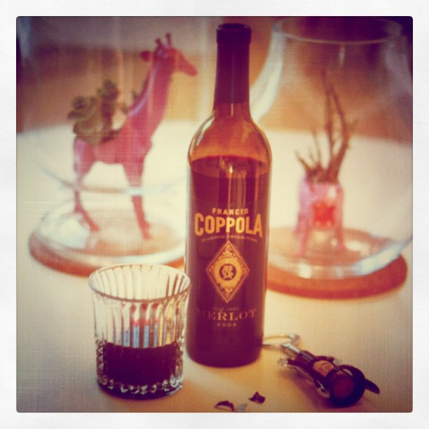 Ooh, wine time!  Coppola merlot is my favorite.