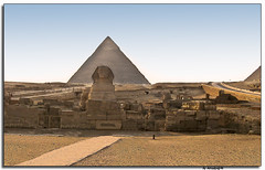 Pyramid of Queops & Sphinx of Gize II (DeCastroJr) Tags: africa old travel light vacation portrait building art history monument face stone sphinx mystery architecture wonder design ancient king desert pyramid symbol god antique famous tomb great egypt culture landmark tourist enigma cairo egyptian pharaoh civilization mystical form dust shape archeology giza dynasty symbolic gize