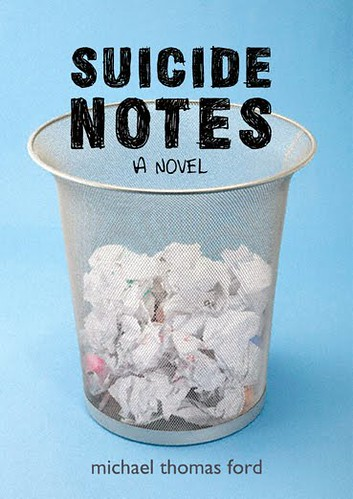 The cover for Suicide Notes (crumpled notes in a trashcan)