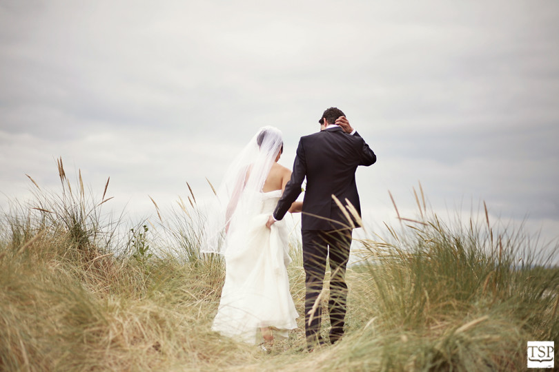 Seattle Golden Gardens Sea Grass Wedding Portrait