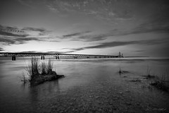 Mackinac Bridge at Sunset (David Alan Robillard) Tags: sunset water michigan bigmac mackinacisland mackinacbridge northernmichigan mightymac northernmichigansunset davidrobillard blinkagain bestofblinkwinners