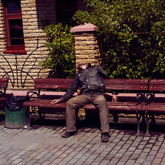 Sleeping (1) (Magne M) Tags: sleeping man drunk bench square dead sleep ukraine sleepy kiev zzzzz socialproblems sleepingseries