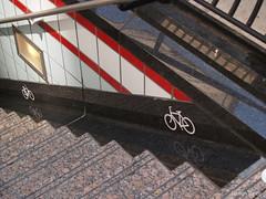 Bike wheel channel (Steven Vance) Tags: chicago downtown cta grand trainstation redline windturbine olympuszuikodigital1445mmf3556