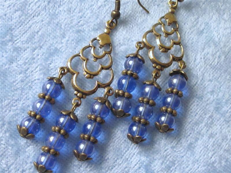 Blue Chandelier Filigree Earrings Brass Antiqued Gold Iridescent
