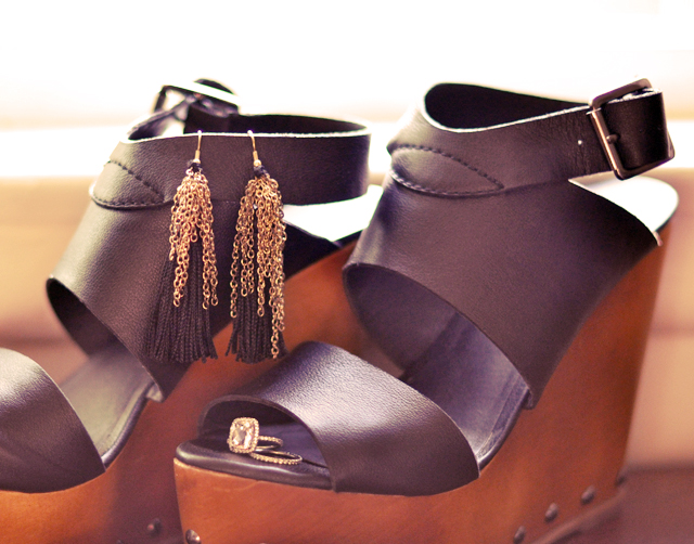 steve madded wedges +  diy   tassel and chain earrings + wedding and engagement rings