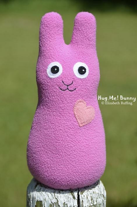 Mauve-pink fleece Hug Me Bunny by Elizabeth Ruffing