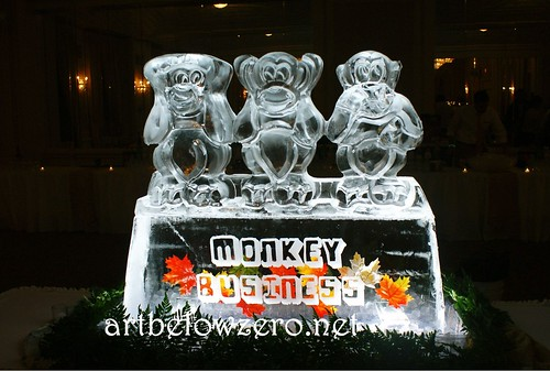 Monkey Business ice sculpture