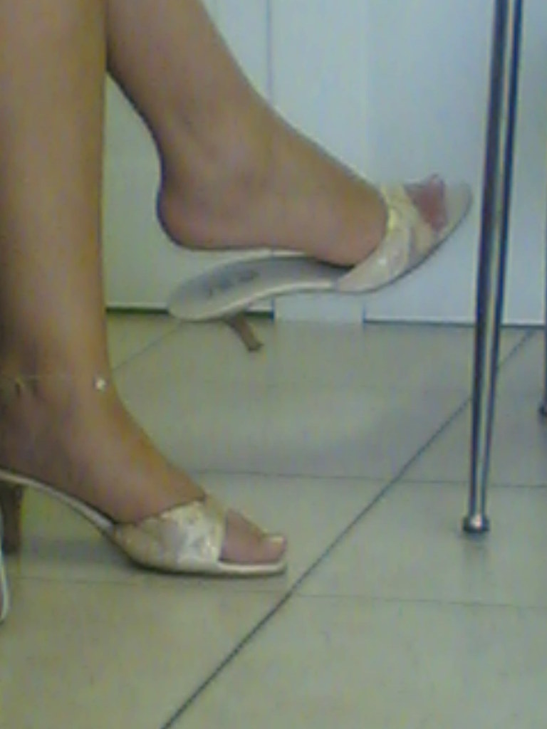 Candid feet shoeplay dangling in nylons pantyhose lobby - 2 4