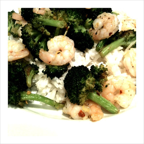 Spicy Roasted Broccoli and Shrimp