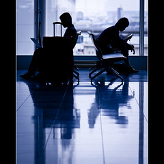 Human Silhouette Haneda 7/7 : Fall into the Digital (yskark) Tags: blue window silhouette tokyo airport chair    haneda