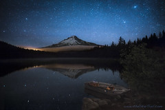 O Holy Night (Ben Canales) Tags: longexposure sky reflection water night stars star boat still calm mthood starry trilliumlake landscapeastrophotography bencanales thestartrail