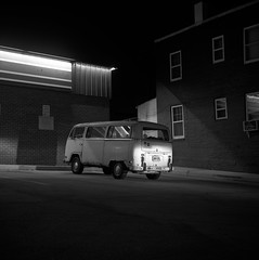 (patrickjoust) Tags: auto park street city shadow urban bw usa white black bus 120 6x6 tlr blancoynegro film home car vw night analog america dark volkswagen lens us reflex md focus automobile long exposure fuji mechanical united parking release tripod north lot patrick twin maryland cable super headlights baltimore 150 fujifilm after medium format neopan 100 states manual 711 rodinal 80 joust developed ricoh hampden wyman develop acros estados 80mm f35 blancetnoir unidos ricohflex schwarzundweiss autaut patrickjoust