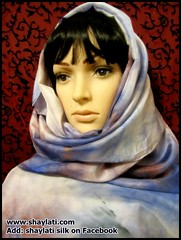 Hand dyed silk (Shaylati) Tags: hijab shayla handpaintedsilk ribbonnecklace collarnecklace